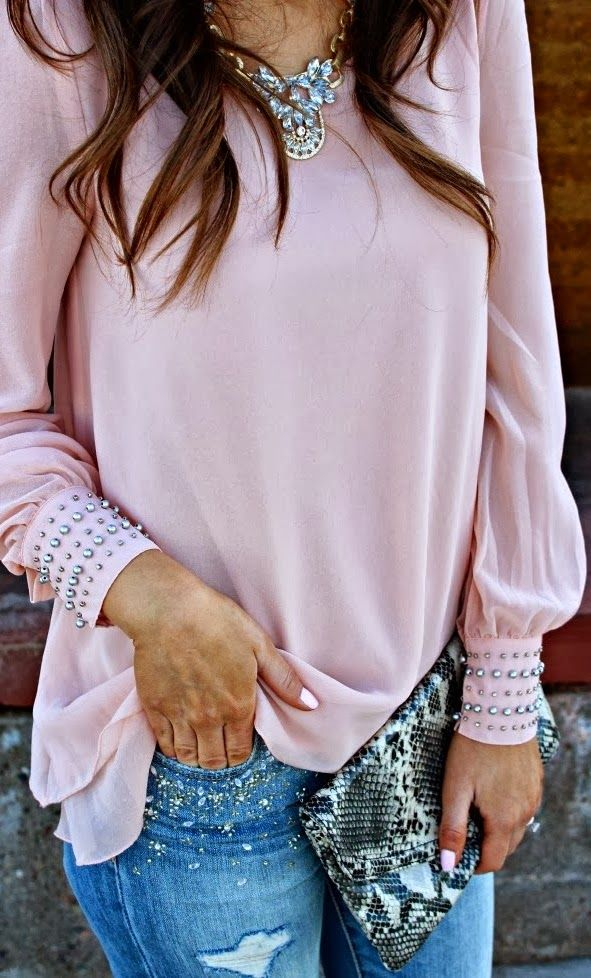 Light pink cuff detail shirt and denim jeans