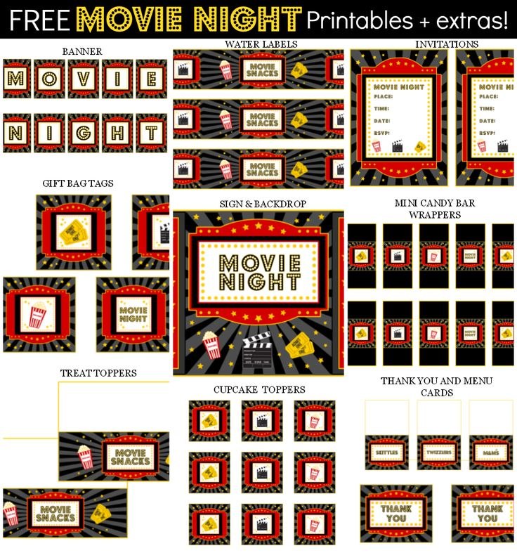 Here are some free printables for your movie night parties!   DOWNLOAD THE FREE SET OF MOVIE NIGHT PRINTABLES AT CATCH MY PARTY!  Additional items can be added below. If you'd like the item(s) personalized, please add your text in the box at checkout.  For Personal Use Only. Do not modify, change, redistribute or sell.