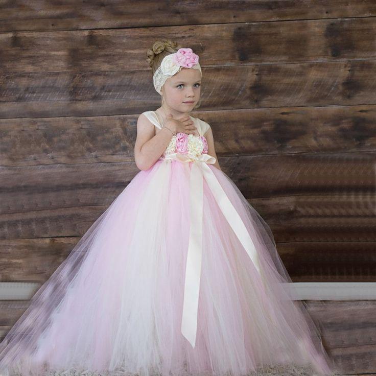 2016 blume mädchen kleider tüll rosa elfenbein tutu kleinkind pageant kleid blumen vestido longo kinder prom kleider //Price: $US $89.00 & FREE Shipping //     #abendkleider