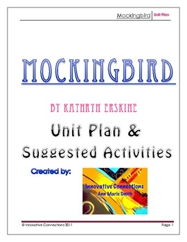 Novel Reading Plan for Mockingbird 6 page unit plan dividing book into 5 sections w/ lit, writing suggestions, prompts, cooperative learning, etc. $3