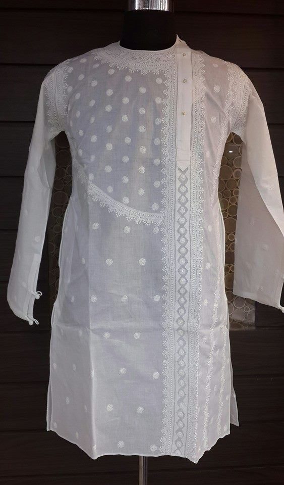 Lucknowi Chikan Online Angrakha Style Mens Kurta White on White cotton with very fine chikankari murri, shadow, kangan, handmade jaali & applique (daraz) work with designer neckline