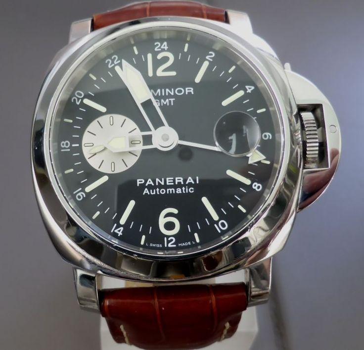 PANERAI LUMINOR GMT 44 AUTOMATIC BLACK DIAL BIG ARROW HANDS 2 Straps PAM088