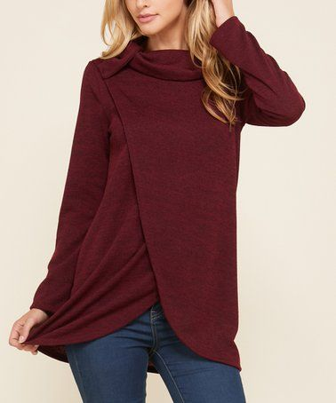 fd6ba3740 Another great find on  zulily! Burgundy Tulip-Hem Cowl Neck Top ...