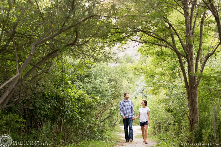 Walking under the canopy. Scarborough Bluffs Engagement Session. Bluffers Park, Toronto Engagement Photos. #sweetheartempirephotography