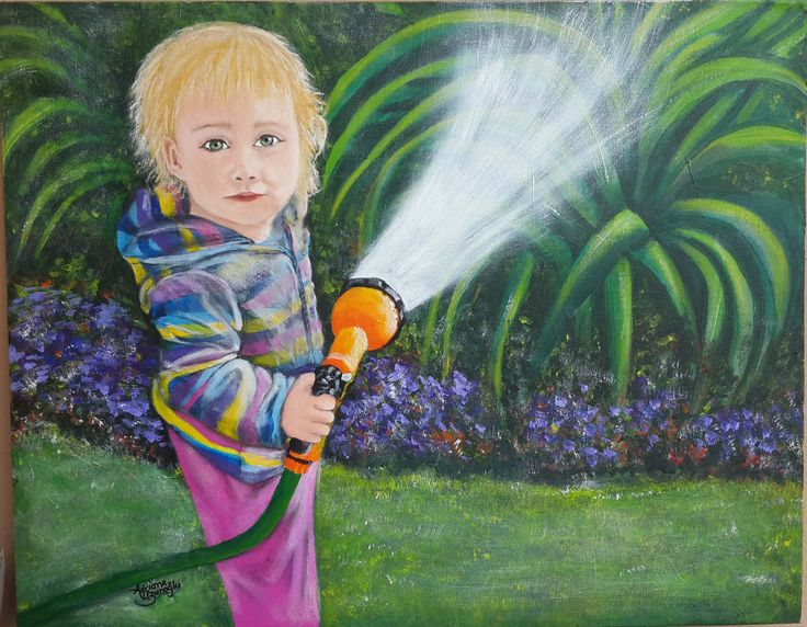 My Waternymph - Mixed media experiment (Oil & Acrylic) on a canvas panel, 710 X 555mm.   A painting I made of my little granddaughter Layla while watering the garden with me. She is crazy about water this little one!