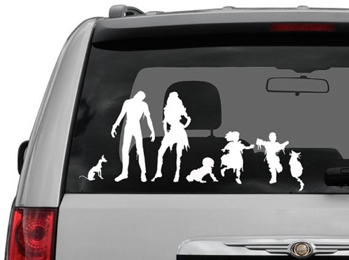 Zombie family decals. want.: Funny Zombies, Vinyls Decals, Families Decals, Cars Window Decals, Families Stickers, Cars Decals, Families Cars, Cars Stickers, Zombies Families