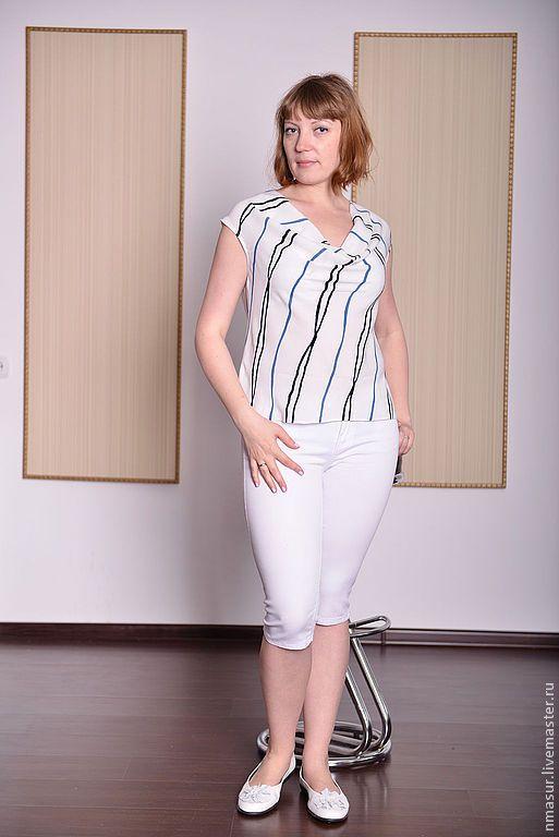 """Купить Блузка """" Голубая полоска"""" - блузка, блузка женская, блузка летняя, блузка нарядная"""