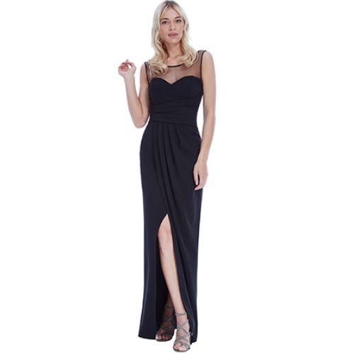 Vestido Largo Fiesta Falda Cruzada Negro | Suen-Vestidos de fiesta