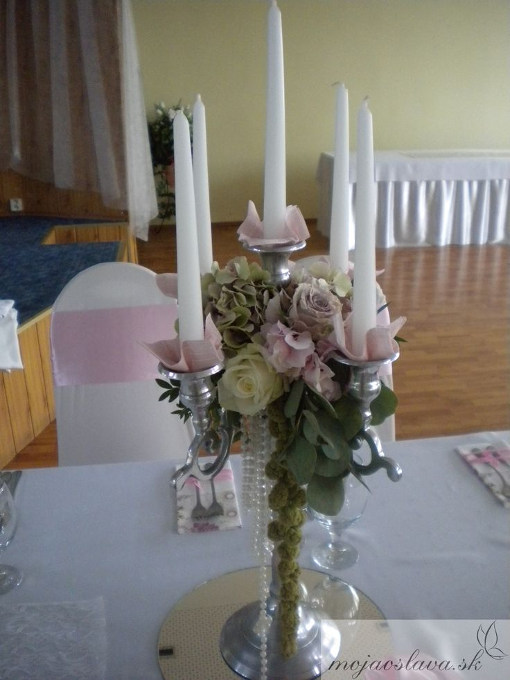 5-arm candelabra with hydrangea and roses