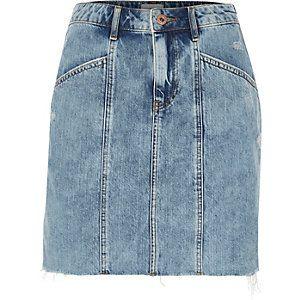Blauwe denim rok met hoge taille en paneel