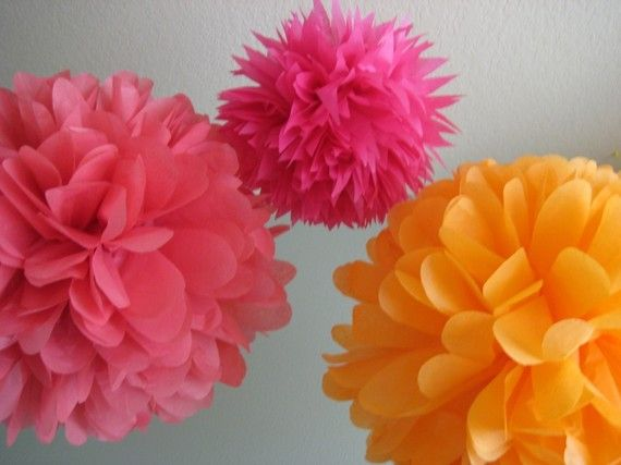 paper poms in great colors for the girls' rooms