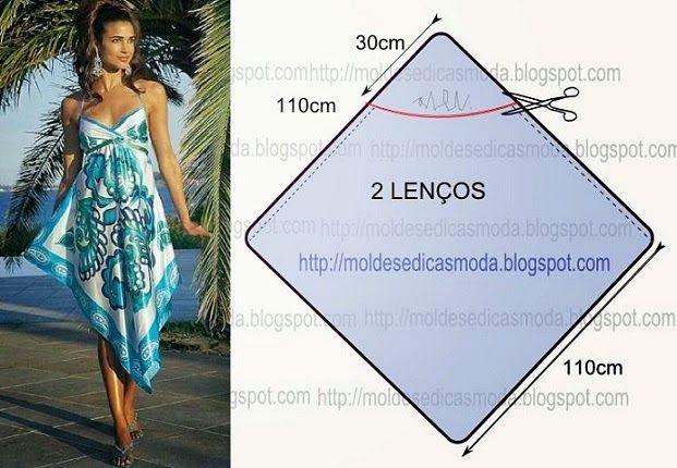 VESTIDO DE LENÇOS - 1 ~ Moldes Moda por Medida