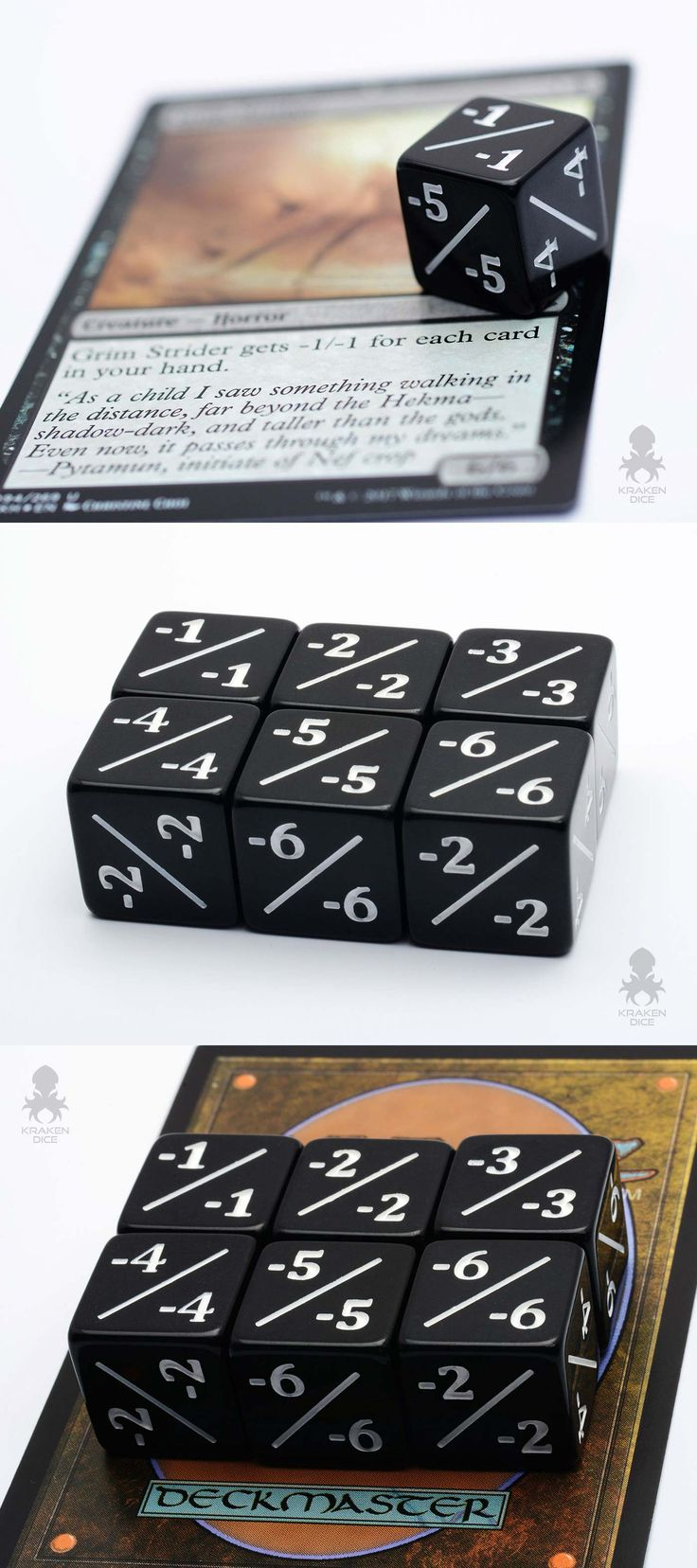 MTG Token Counter Dice / Negative Dice Counters for Magic: The Gathering