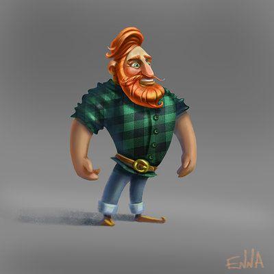 enna artist, man with a beard, red beard, 2d art