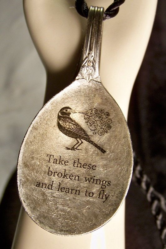 Blackbirds Crows Ravens:  #Blackbird singing in the dead of night, Take these broken wings and learn to fly. Antique spoon made into a necklace.