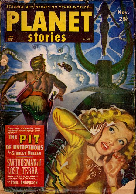 Planet Stories, November 1951, The Pit of Nympthons, girl woman dame blonde arab turban sword simitar mystic danger forteign exotic