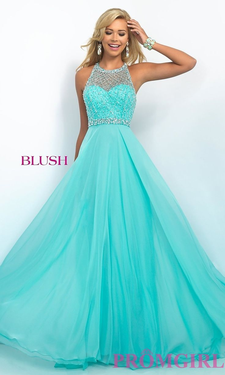 BL-11053 - Illusion Sweetheart Floor Length Blush Prom Dress