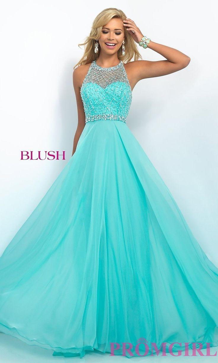 BL-11053 - Illusion Sweetheart Floor Length Blush Prom Dress