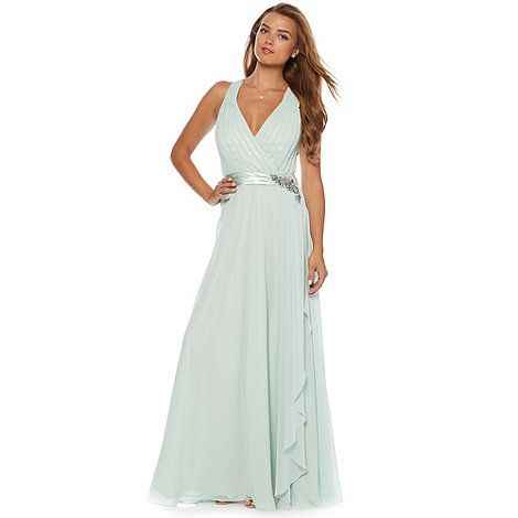 No. 1 Jenny Packham Designer light green applique flower waterfall maxi dress- at Debenhams Mobile