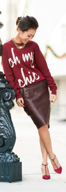 Comfy 'Oh My Chic' Sweater, Studded Valentino Strappy Heels & Burgundy Leather Pencil Skirt.