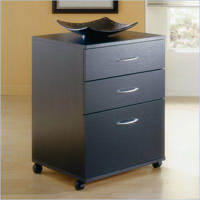 mobile 3 drawer vertical mobile wood filing cabinet in black