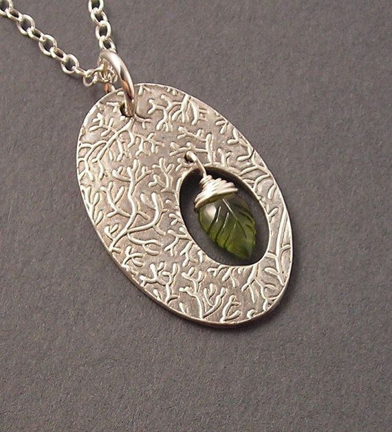 SALE, Leaf Peeping, Olive Green Vesuvianite, Fine Silver Pendant, Sterling Silver Necklace, erinelizabeth, Ready to Ship