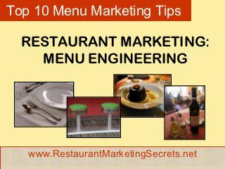 Restaurant Marketing Ideas For Menu Engineering