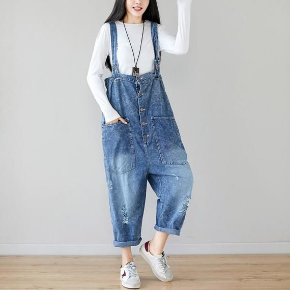 Womens Summer Loose Fitting Stripes Patchwork Ripped Jeans Overalls With Pockets  Casual Overalls  Loose Pants  Loose Overalls For Women