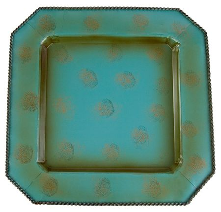 """4 Pc 14"""" Square Turquoise Rustic Southwestern Charger Plates"""