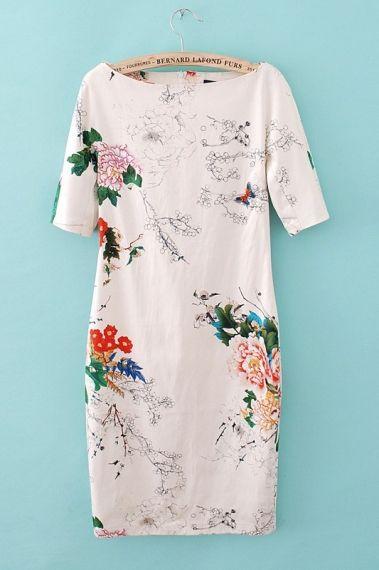 Love the boat neck. Really lovely: elegant floral dress.