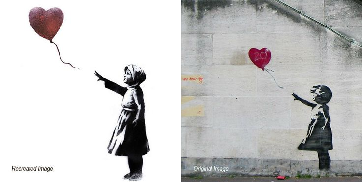 Banksy reworks his famous girl with heart balloon to mark third anniversary of Syria conflict