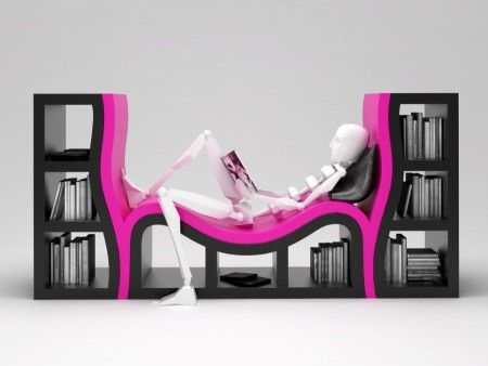 book shelves and reading nook - all in one - I LOVE