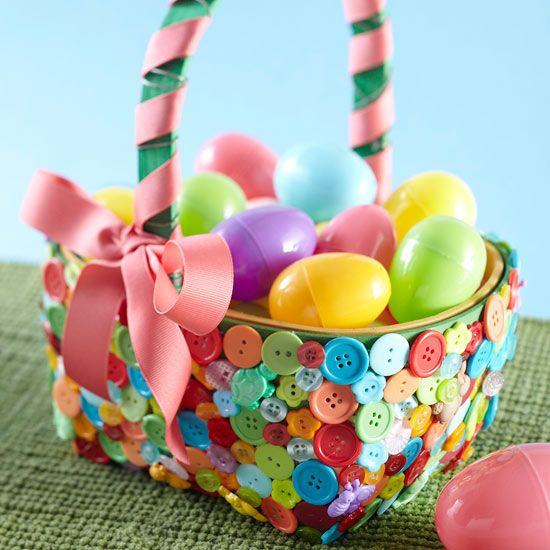Colorful Button Easter Basket  Refresh a basic wooden Easter basket with a bag full of colorful buttons. No need to be exact -- hot-glue buttons in all shapes, sizes, and colors onto your basket for a truly unique look. Tie a pretty pink ribbon to the handle for holiday-ready presentation.