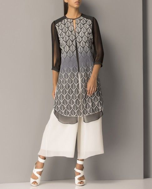 Ivory and Black Double Layered Printed Tunic