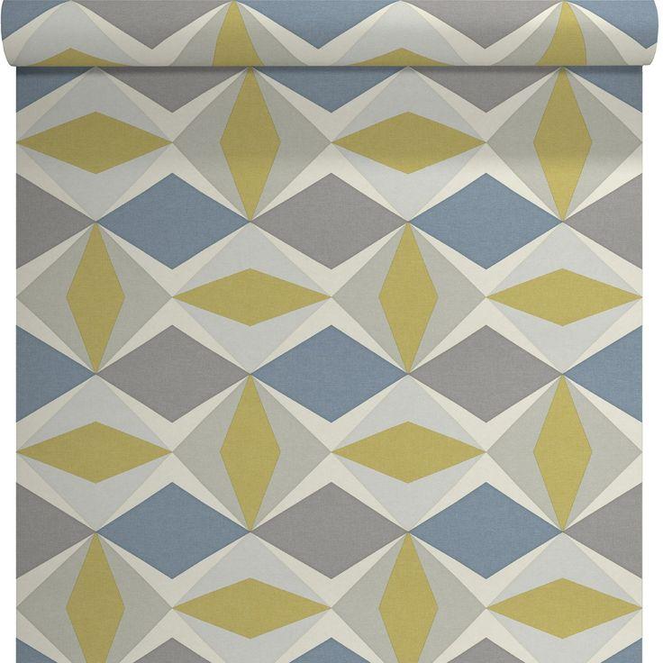 Papier peint vinyle sur intiss ecorce losange gris for Papier peint vinyle intisse