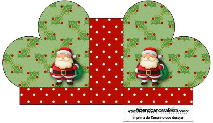 Caixa Coração Natal Papai Noel e Boneco de Neve:
