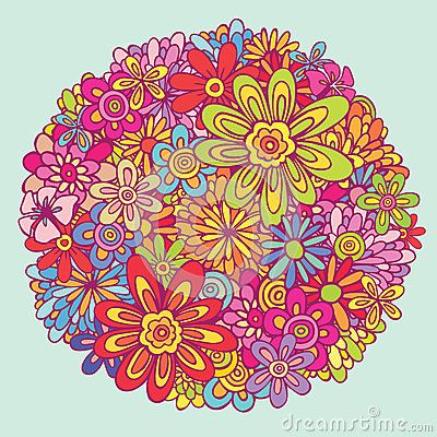 Variety flower colorful combination illustration vector