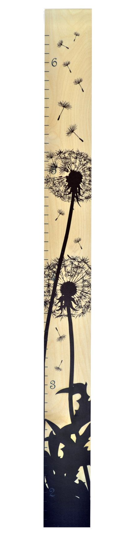 Dandelion Silhouette Modern Wooden Ruler Growth by GrowthChartArt