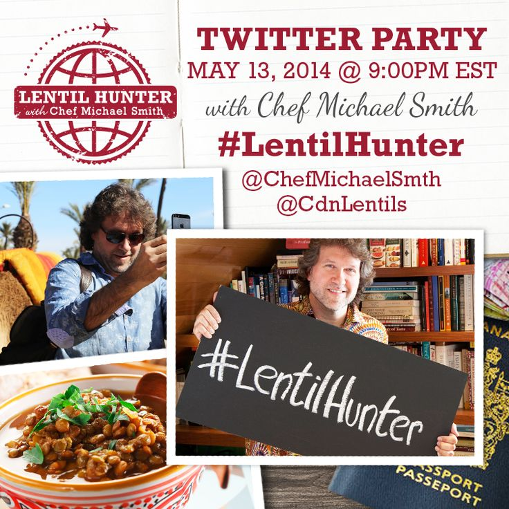 Lentil Hunter Twitter Party with Chef Michael Smith Tuesday May 14, 2014 9:00pm EST (754x754 pixels)