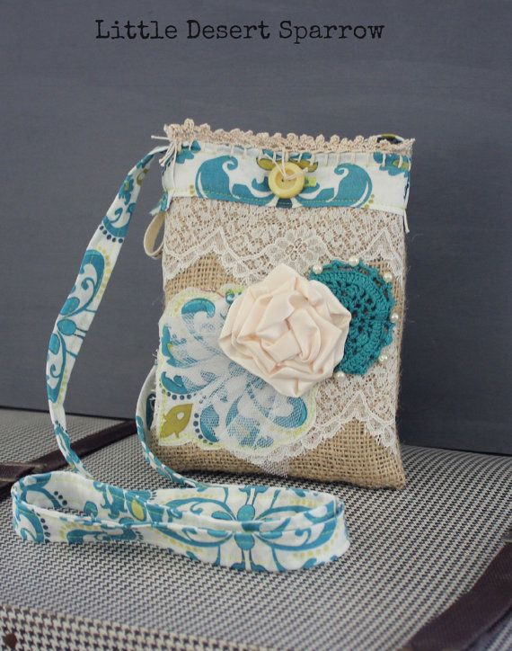 Vintage Lace and Burlap Purse by LittleDesertSparrow on Etsy, $34.00
