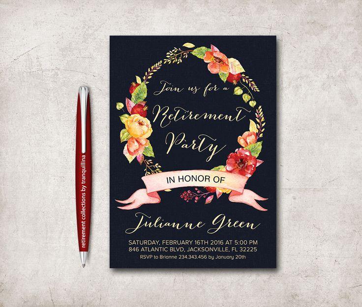Retirement Invitation Printable, Retirement Party Invitation, Floral Retirement Invitation, Printable Retirement Invite, Floral Wreath by tranquillina on Etsy https://www.etsy.com/ca/listing/185572615/retirement-invitation-printable