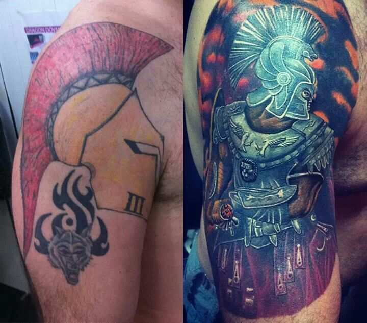The shut we put on our bodies. Probably one of the best cover up tattoos I've ever seen.   Spartan Warrior Tattoo
