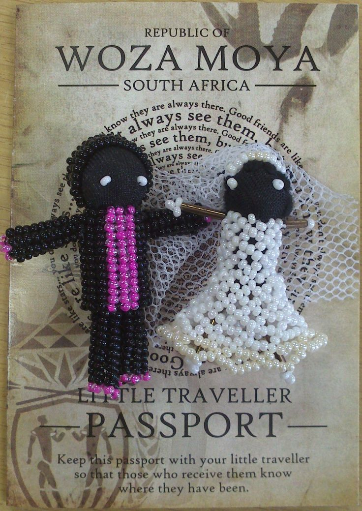 Wedding Little Travellers  - wedding Travellers were designed by Ntombi.  Ntombi used donated lace for the veils and it was only after much consideration that she added a groom! They are the Woza Moya symbol for love and commitment and all our brides (eventually) find a suitable match.