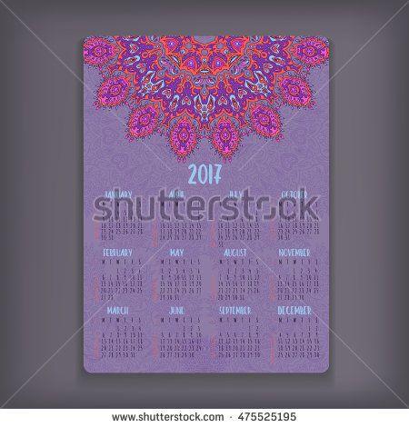 2017 calendar template. Mandala vector greeting or business card design. Highly…