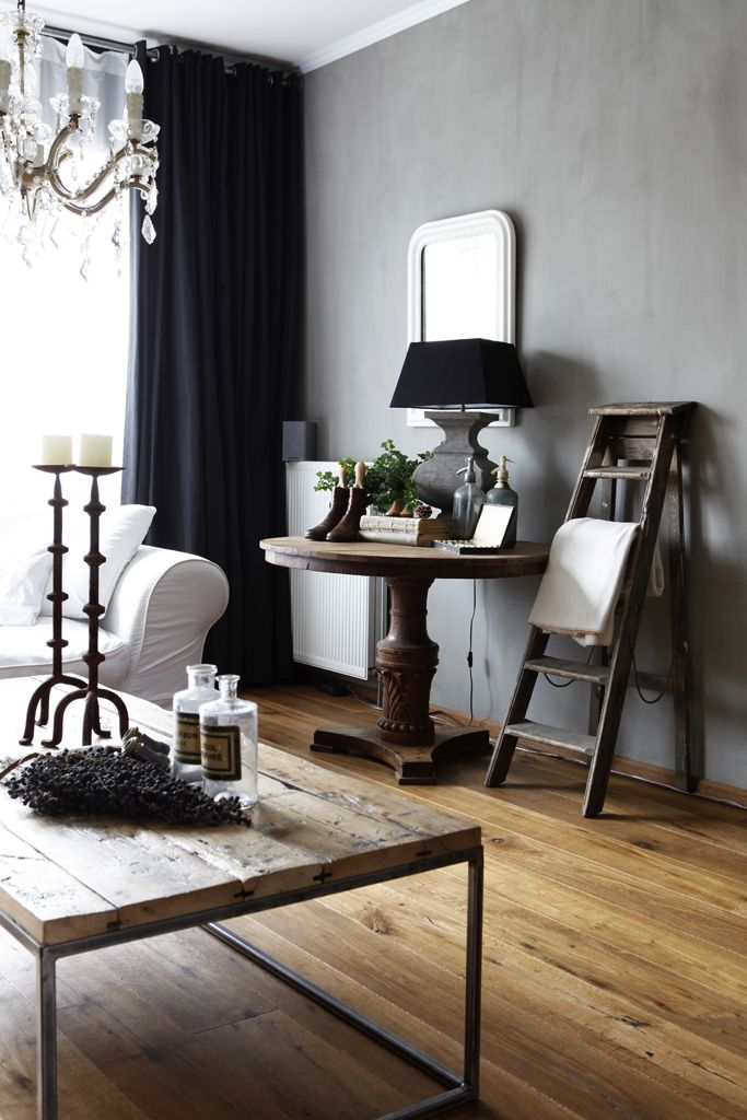 dark walls - white sofa - rustic coffee table - table in living room - #IQRTG
