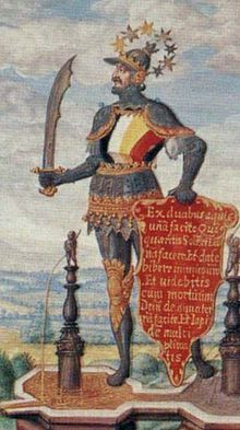 Colors of the magnum opus seen on the breastplate of a figure from Splendor Solis
