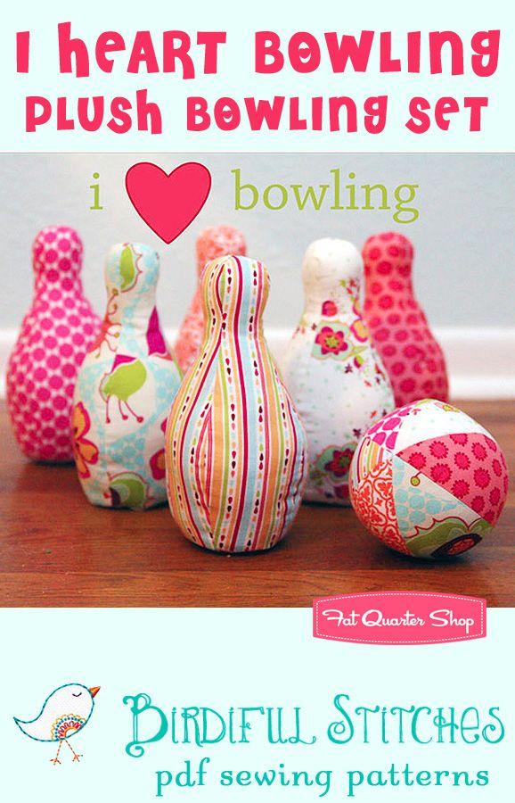 I Heart Bowling Plush Bowling Set Downloadable PDF Pattern Birdiful Stitches Sewing Patterns - Fat Quarter Shop