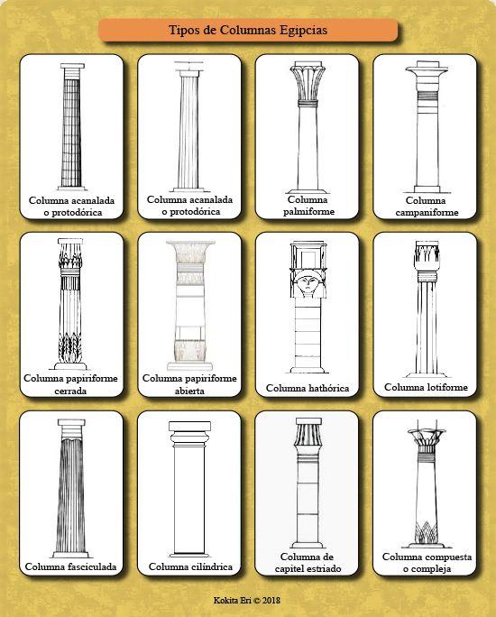 Principales tipos de columnas egipcias