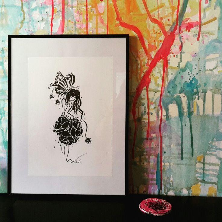 Tableau dessin l 39 encre sur canson for Galerie art abstrait
