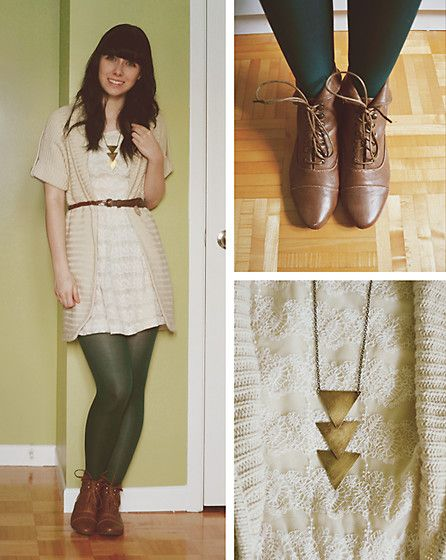 H Cream Lace Dress, Zara Belt, Sws Woolen Shirt, Green Tights From Vintage 90's From Mom, Bliss Boots From Yellowshoes, Urban Outfitters Ridiculously Overpriced Necklace